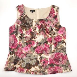 Talbots Sleeveless Top Size 16 Pink Brown Floral